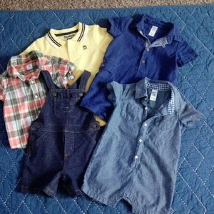12 month bundle rompers, overalls, onsie ECT.